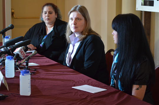 Janine Benedet (centre), counsel of the Women's Coalition for the Abolition of Prostitution, at the group's May 29 announcement. Photo by Carlos Tello.